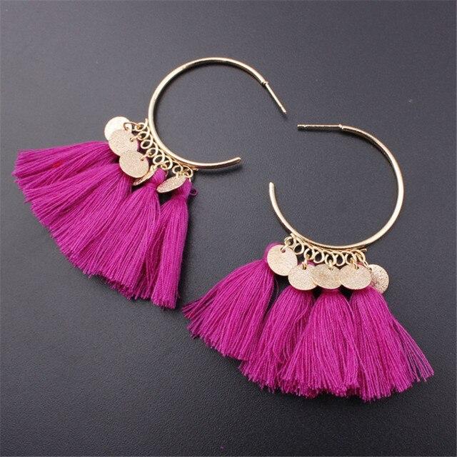 Lacoogh 2017 Ethnic Bohemia Drop Dangle Long Rope Fringe Cotton Tassel Earrings Trendy Sector Earrings for Women Fashion Jewelry 3