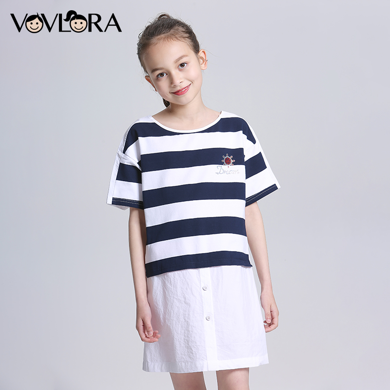 Loose Striped Patchwork Girls Dress Appliques O Neck Tops Kids Blouses Dress Summer Children Clothes Size 7 8 9 10 11 12 Years scoop neck striped stretchy dress