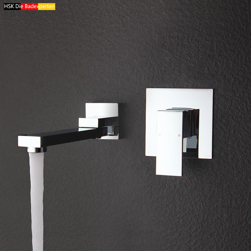 dark into the wall type single handle bathtub faucet water mixing valve with embedded box with rectangular swing nozzle