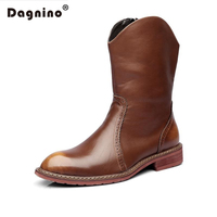 DAGNINO Winter Genuine Leather High Pointed Knight Ankle Boots Warm Casual Men Zipper Rain Botas Masculina