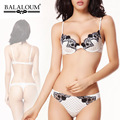 Balaloum Cute Dot Embroidery Floral Thin Thick Push Up Sexy Underwear Bra Set Thong Single breasted Comforatble Lingerie Set