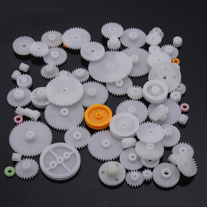 64pcs High Quality Plastic Shaft Single Double Layer Crown Worm Gears M0.5 For Robot DIY ...
