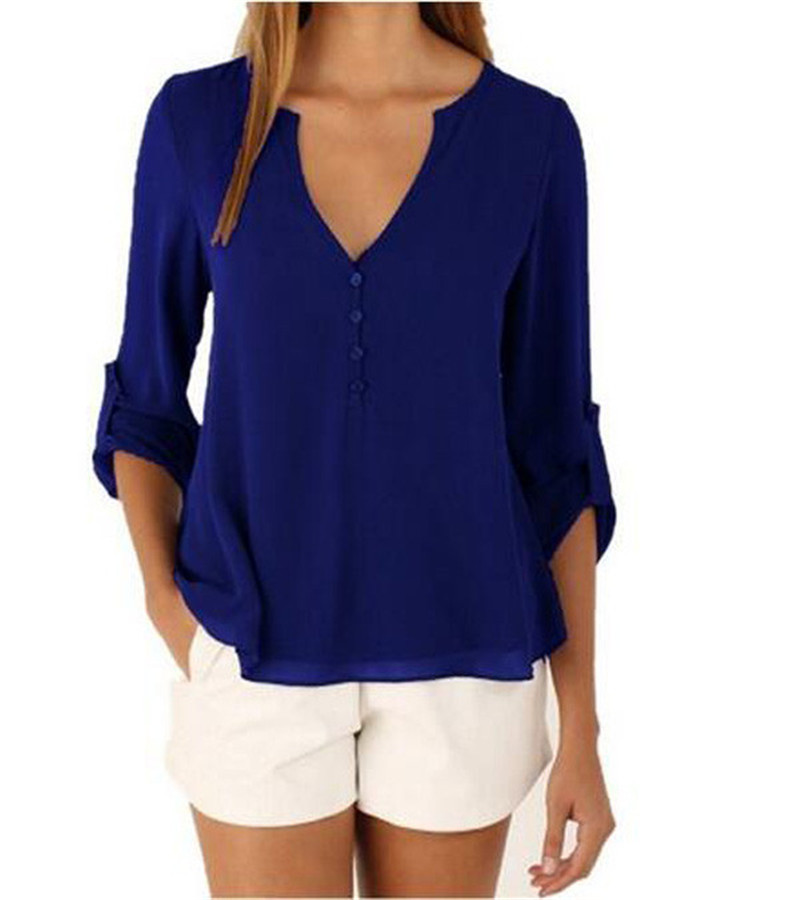 Loose button long sleeve deep v neck chiffon blouse of for Large shirt neck size