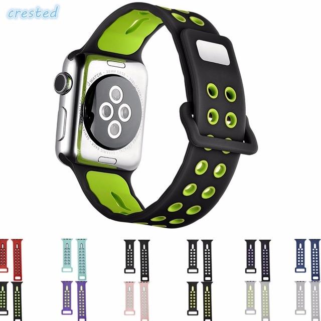 CRESTED sport siliconen pols horloge strap voor apple horloge band 38mm 42mm vervangbare Armband Strap voor iwatch 1/2