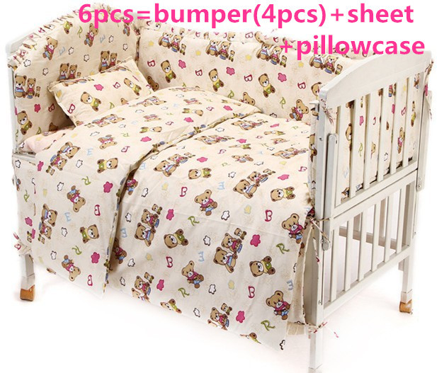Promotion! 6PCS Bear Boy Baby Cot Crib Bedding Set cuna baby bed bumper Sheet , include (bumpers+sheet+pillowcase) promotion 6pcs baby bedding set cot crib bedding set baby bed baby cot sets include 4bumpers sheet pillow