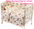 Promotion! 6PCS Bear Boy Baby Cot Crib Bedding Set cuna baby bed bumper Sheet , include (bumpers+sheet+pillowcase)