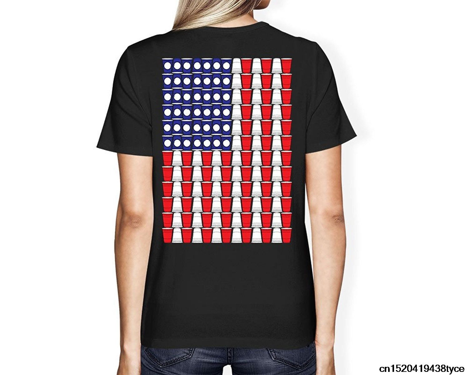 Jzecco Womens Beer Pong American Flag T Shirt In T Shirts