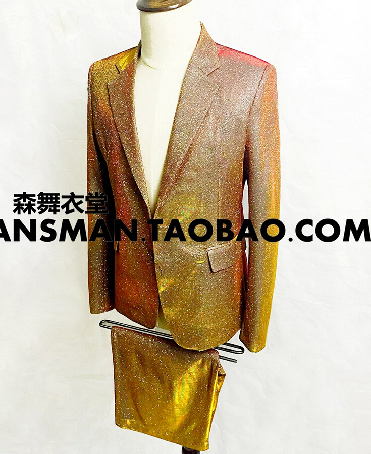 S-5XL 2018 Mens new slim fashion Champagne gold flash suits Men plus size singer Blaze costumes stage formal dress clothing