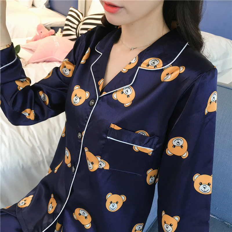 Image 3 - Caiyier Long Sleeve Silk Pajamas Set Cute Bear Print Sleepwear 2019 New Plus Size 5XL Spring Women Nightgown Casual Home Clother-in Pajama Sets from Underwear & Sleepwears