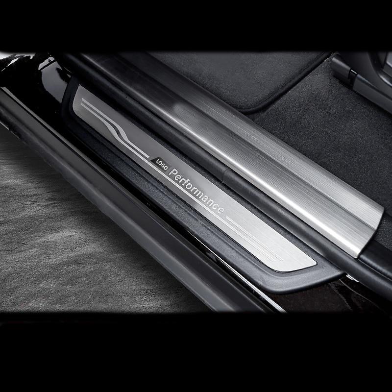 4 PCS Door Sills Protector Stickers Carbon Fiber Car Scuff Plate Door Sill Cover Protector Guard for BMW X5 X6 F15 F16