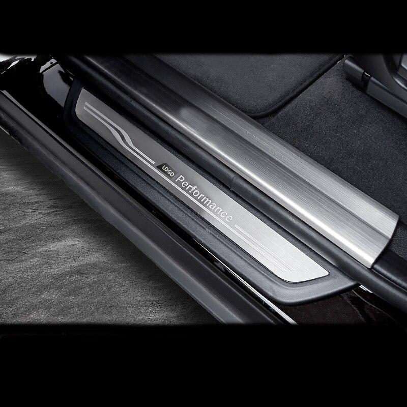 アクセサリードアシルスカッフプレートガードプロテクターステッカー Bmw 3 4 5 シリーズ 3GT F20 F30 F34 X1 X3 x4 X5 X6 F32 F10 F16 E70  グループ上の 自動車 &バイク からの 車のステッカー の中 1