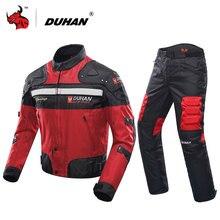 DUHAN Winter Kalt sichere Motorrad Jacke + Motorrad Hosen Moto Anzug Touring Kleidung Schutzausrüstung Set Rot Schwarz Blau