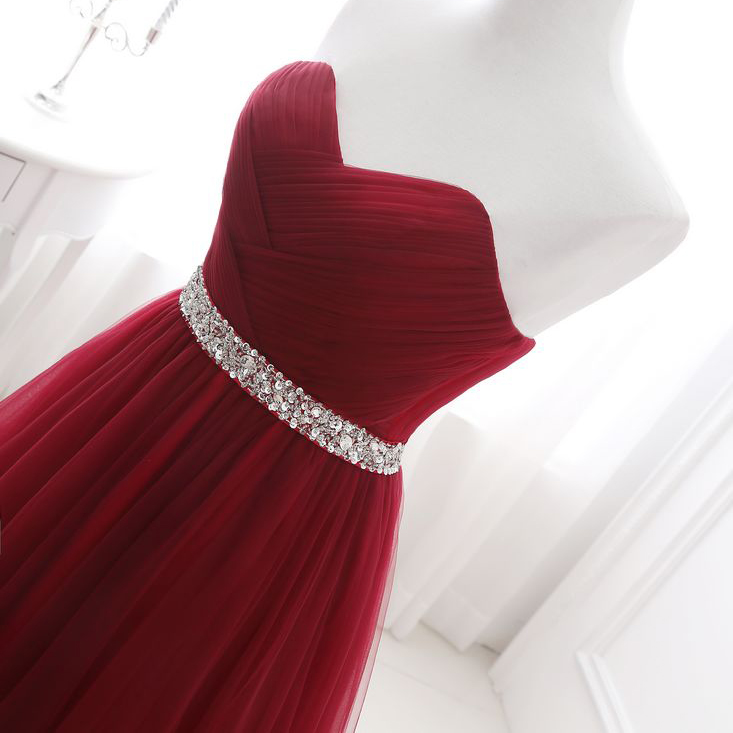 благородный Вайсс темно-красные вечерние платья сетчатая складка ручная вышивка бисером на шнуровке сзади выпусквечерние ное платье с кортом