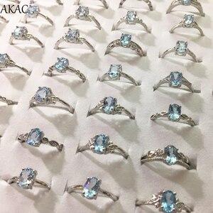 Image 2 - 3 pierścienie/zestaw AKAC naturalny niebieski topaz pierścień approx5 * 7mm naturalny kamień kobiety pierścień regulowany pierścień