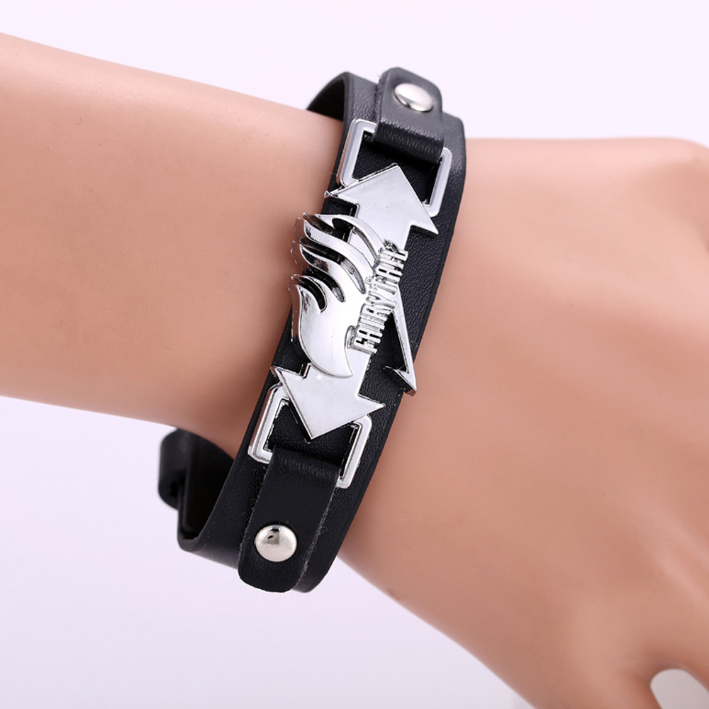 Anime Fairy Tail Bracelet PU Leather Bracelet Wristband Watch Style Cosplay Prop Gift