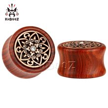 Kubooz piercing wood ear plugs tunnels piercing body jewelry with metal crystal design sell by pair ear gauges(China)