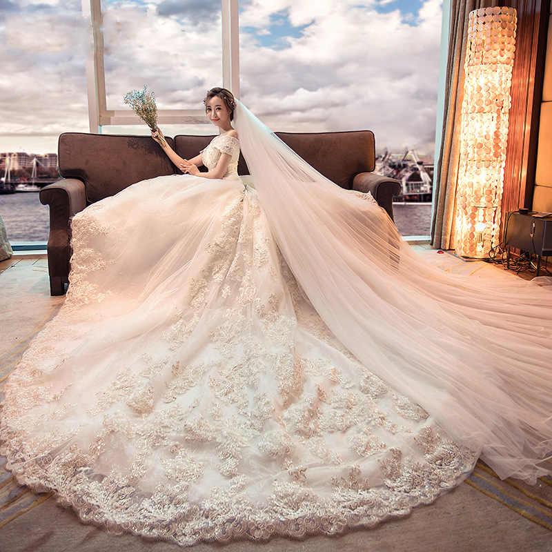 Alilove חתונה שמלת 2019 כלה כתף אחת ארוך זנב יוקרה תחרה רקמת מתוקה אלגנטי בתוספת גודל Vestido דה Noiva