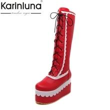 KarinLuna/Новинка; обувь для девочек на толстой платформе в стиле пэчворк для костюмированной вечеринки Модные женские зимние ботинки на меху на высокой танкетке со шнуровкой