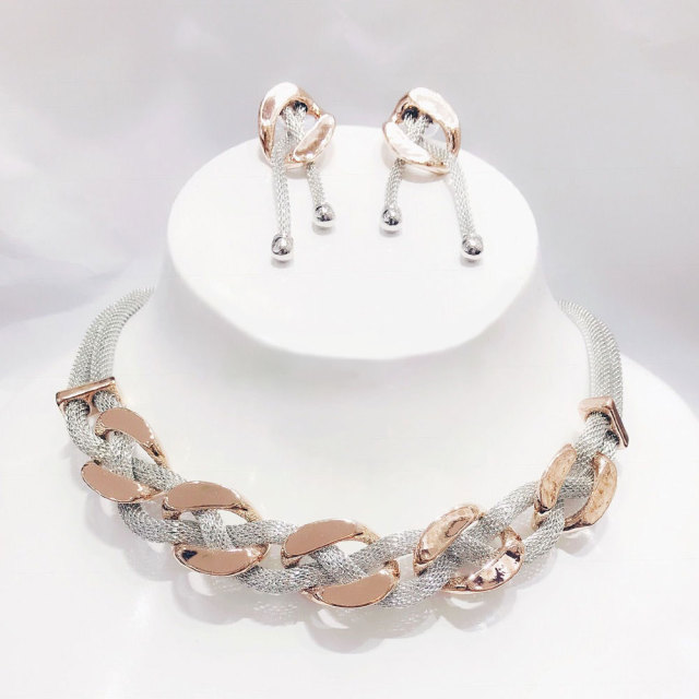 Mix Silver/ Rose gold Twist  Link Jewelry Set