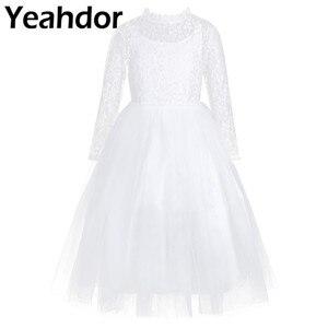 Image 1 - Dziewczęca sukienka w kwiaty z długimi rękawami śliczna biała koronka na wesela dzieci suknia wieczorowa dziewczyny księżniczka pierwsza komunia sukienek