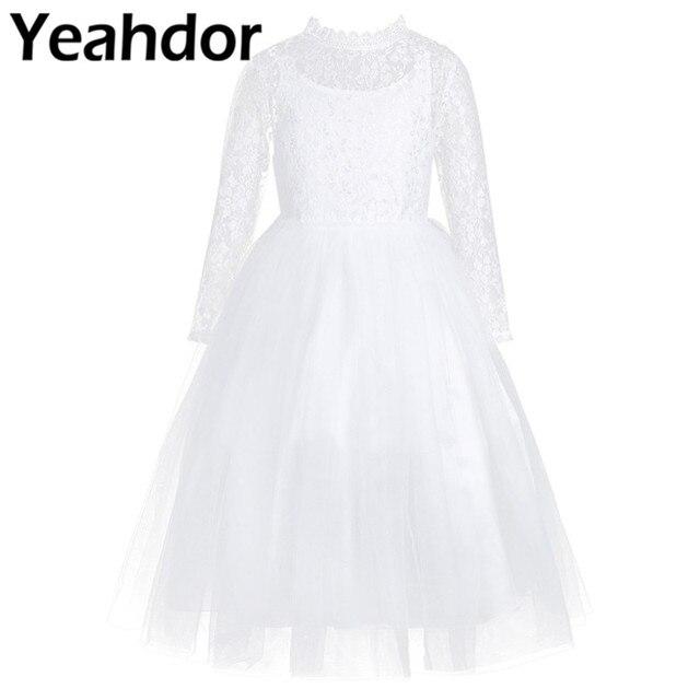 Dziewczęca sukienka w kwiaty z długimi rękawami śliczna biała koronka na wesela dzieci suknia wieczorowa dziewczyny księżniczka pierwsza komunia sukienek