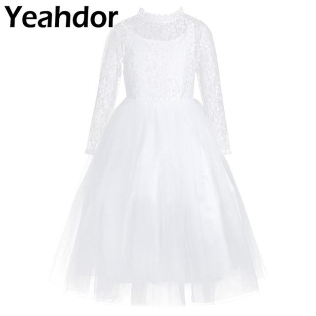 Đầm Hoa Bé Gái Tay Dài Dễ Thương Ren Trắng Cho Đám Cưới Trẻ Em Hứa Áo Bé Gái Công Chúa Đầu Tiên Hiệp Thông Đầm Dự Tiệc