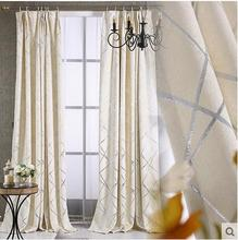 Modern Geometric Embroidered Curtains For living Room/ Bedroom Blackout Curtains Window Treatment /drapes Home Decor tulle beige polyester flannel europe embroidered blackout curtains for living room bedroom window tulle curtains home hotel villa