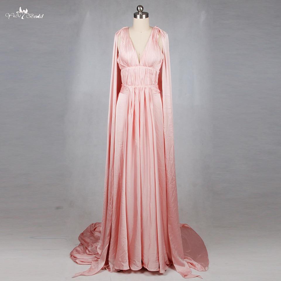 US $12.12 RSE12 Griechischen Stil V ausschnitt Backless Lange Abend Rosa  Satin Kleid Mit Umhangpink satin dressdresses with capessatin dress -