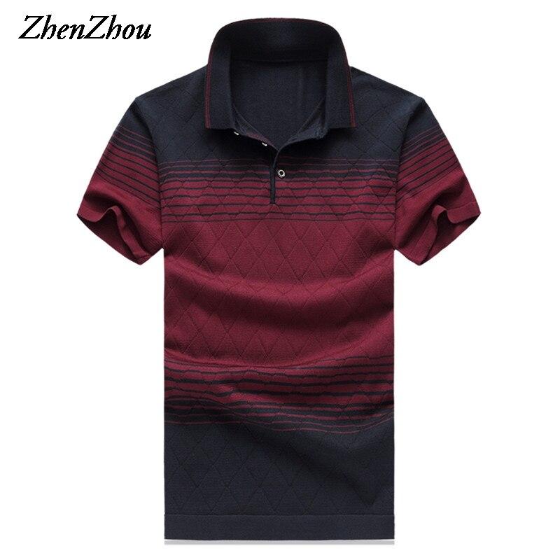 ZhenZhou Natural Silk Summer Mens Polo Shirts 2017 Brands Striped Short Sleeve Polo Shirt Men Polo