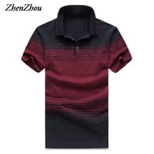 ZhenZhou Naturseide Sommer Herren Polo Shirts 2017 Marken Gestreiften Kurzarm Polo Shirt Männer Polo Homme M-5XL 6XL Plus größe