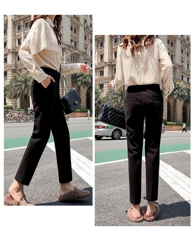 19 Autumn New Women Elastic Woolen Pant Female Plus Size Casual Trousers Black/Gray Harem Pants Winter Wool Ankle-Length Pants 34