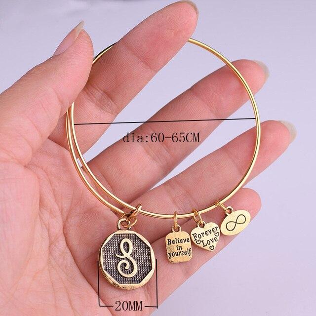 Expandable Bracelet ANCIENT GOLD A-Z Initial Letter American Fashion Charm Alphabet Bracelet Adjustable Wire Wrap Cuff Bangle 5