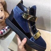 Элитный бренд синий Vetvel мужские кроссовки модные высокие психического Повседневная Мужская обувь для подиума Туфли без каблуков кроссовки