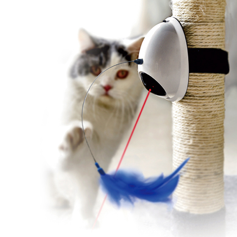 3in1 Cat Laser Toys Pet Kitten Laser Feather Toys 360 Degree Automatic Electric Toys With Base Funny Feather Toys Pet Cat Supply
