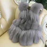 NEW Women Real Fox Fur Vest 100% Wholeskin Natural Green/Grey Fox Fur Gilets Sleeveless Warm Coat Winter Long Waistcoat