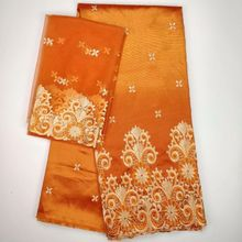 5 Yards Nice looking orange african George lace fabric match 2yards french net embroidery set for clothes WH5-5