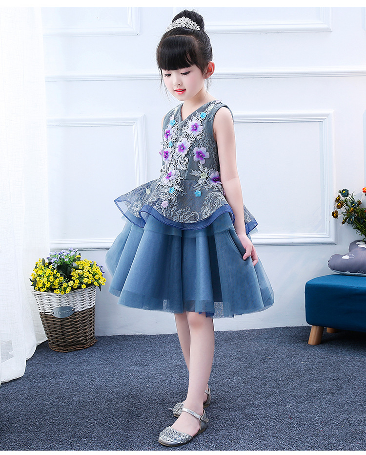 Flower Girl Dress Blue Tulle Kid Evening Dress Wedding Gown Appliques Girl  Ceremonies Party Dress First Communion Dresses 9a08ff11a7ff