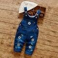 80cm-85cm-95cm bebê roupas de outono a moda das calças jardineiras denim calças do menino do futebol do bordado lindo macacão de algodão macacões