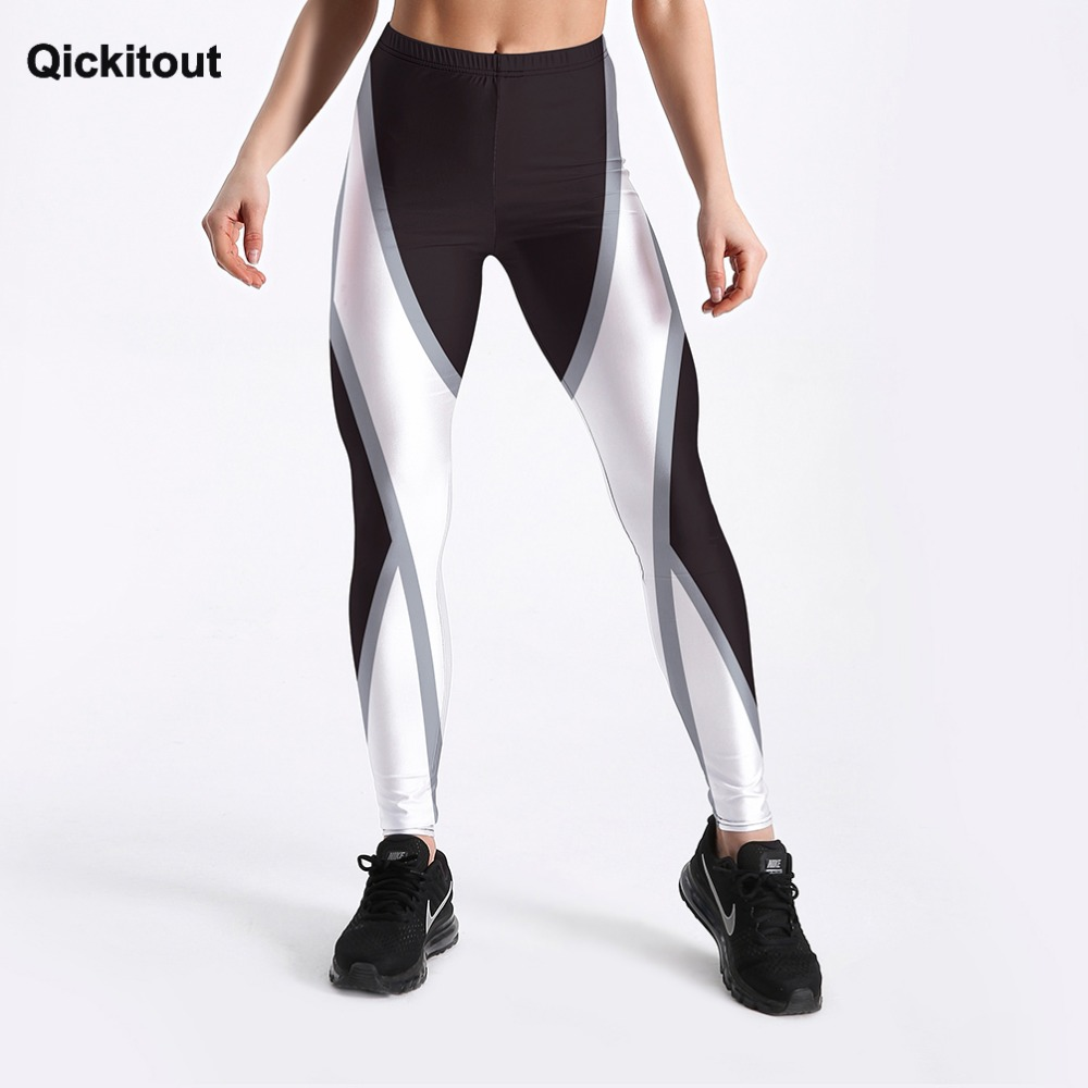 Qickitout Sexy Fashion Shape White Around Printed Female Fitness Leggings Women's Workout Cute Elastic Pants Drop Shipping