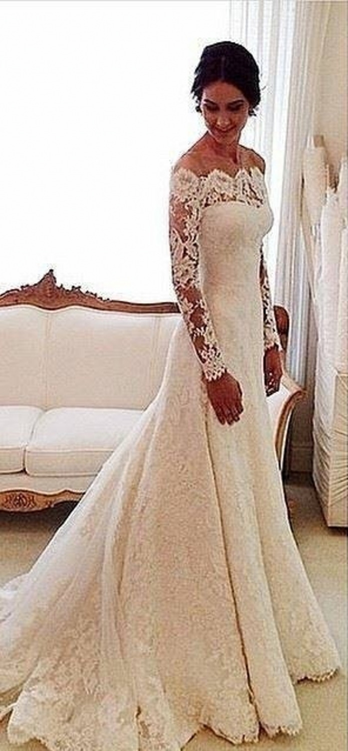 mermaid long sleeve lace wedding dresses 2015 boat neck vintage bridal gowns vestido de novia. Black Bedroom Furniture Sets. Home Design Ideas