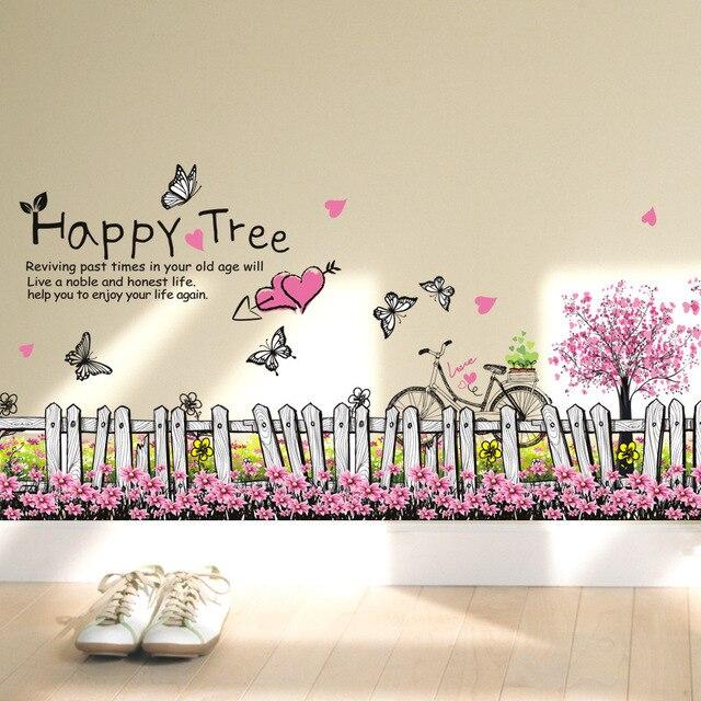 online shop 3 kopen een pvc muurstickers roze blooms verwijderbare, Deco ideeën