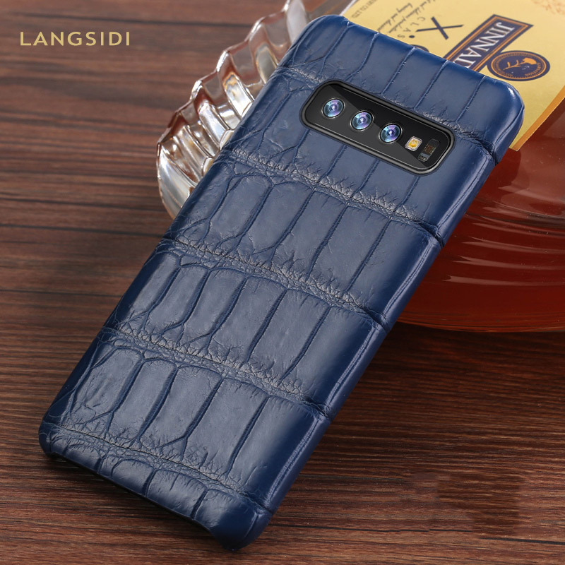 Luxury Natural Crocodile Leather case For Samsung Galaxy s10 S7 S9 S8 plus cover For Note 10 plus 8 9 a50 a70 A10 A30 a7 a8 2018-in Fitted Cases from Cellphones & Telecommunications