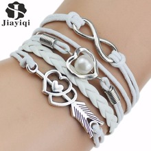 Multi-Strands Infinity Silver Color Heart Charm Leather Braid Bracelet