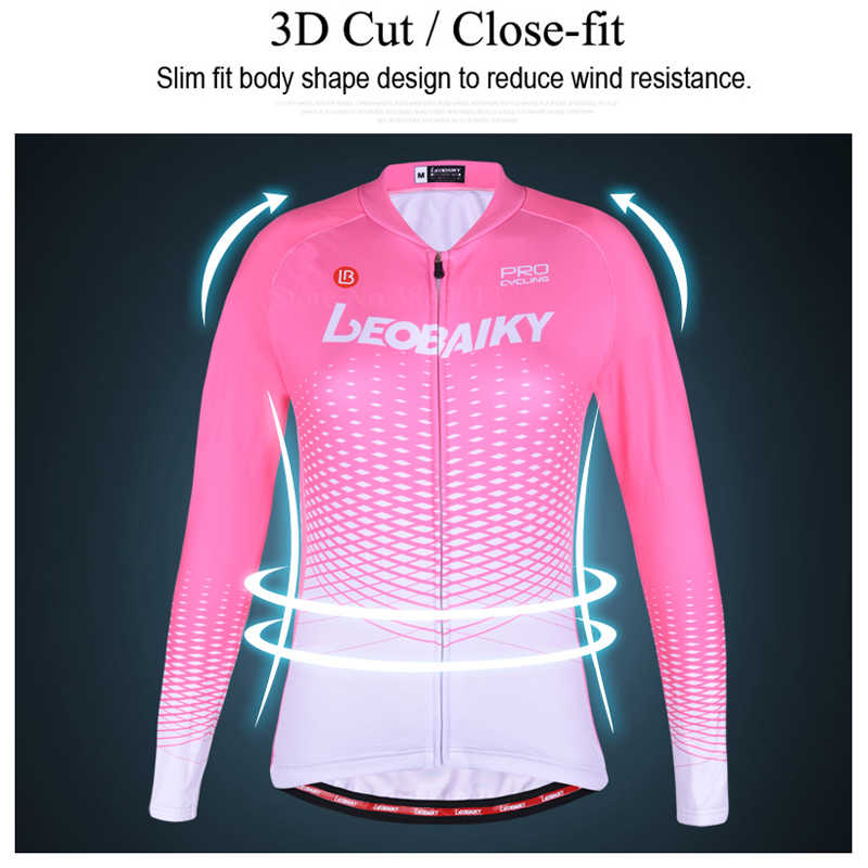 LEOBAIKY プロチームサイクリング長袖冬の熱フリース自転車服女性バイク服サイクルウェア