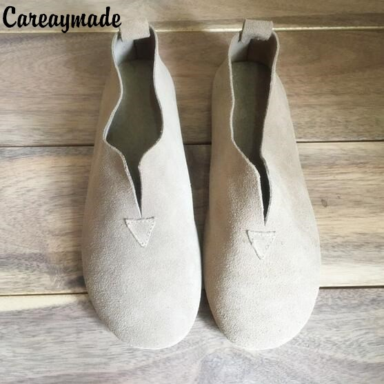 Careaymade-2018 Spring round shallow mouth of small fresh set foot shoes retro lace art super soft comfortable leisure shoes art of war