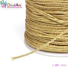 OlingArt 0,8/1,0 мм/2,0 мм/2,4 мм Золотая Серебряная нить цветная линия китайский узел струна ручной работы ювелирные изделия из бисера DIY Браслеты Изготовление