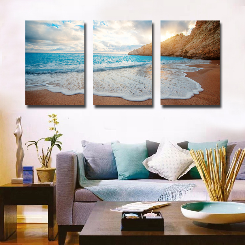 Seascape beach wall pictures triptych painting set modern - Modern wall decor for living room ...