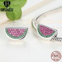 925 Sterling Silver Pave Mouth Watering Watermelon Charms Pendant Fit Original Pandora Charms Bracelet DIY Fine