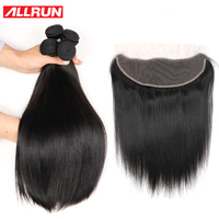 Allrun Malaysian Straight Hair Bundles With Lace Frontal 3 Pieces With Closure 13 4 Non Remy