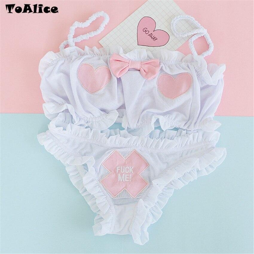 Image 3 - 1PC Top+1PC Briefs 2018 Hot Sale Intimates Set Sexy Strap Transparent Women Gauze Briefs Underwear Lolita Camisoles Set-in Bra & Brief Sets from Underwear & Sleepwears